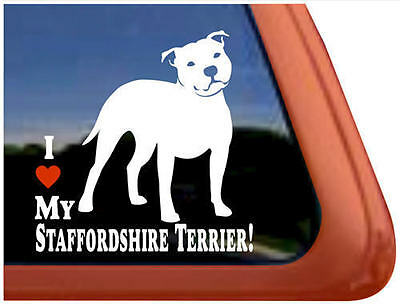 Love My Staffordshire Terrier Dog Window Decal Sticker