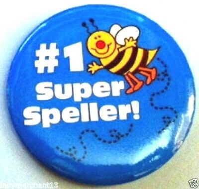 """#1 Super Speller"" Bumble Bee Button Pins/34/All New!"