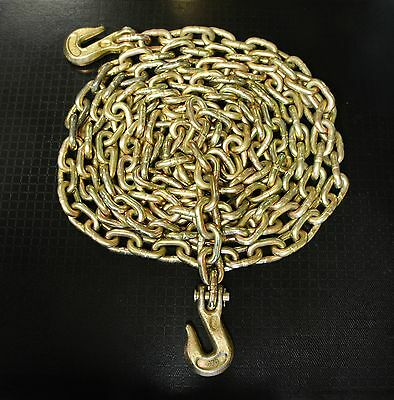 """(2) 3/8"""" x 20' G70 TRANSPORT TIE DOWN SAFETY TOW CHAIN"""