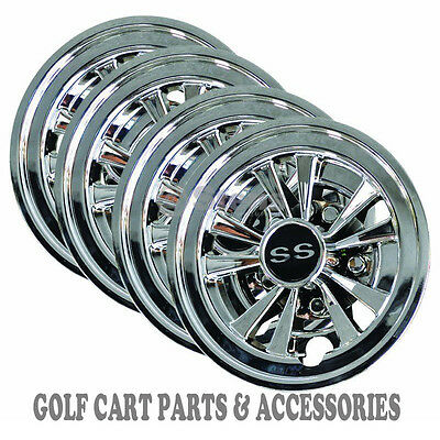 Ss Golf Cart Hubcaps - Fits All Ez-Go, Club Car, Yamaha