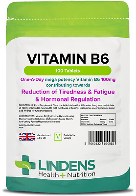 Vitamin B6 100mg (100 tablets) One-a-day energy, mood, cramps PMS [Lindens 0052]