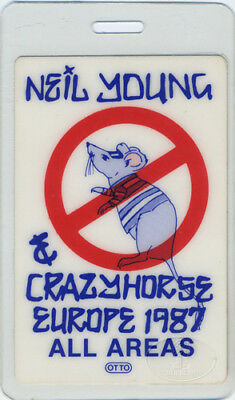 Neil Young 1987 Europe Laminated Backstage Pass