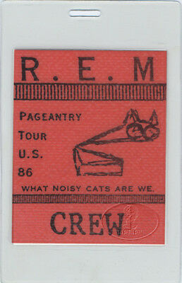 R.e.m. 1986 Pageantry Tour Laminated Backstage Pass