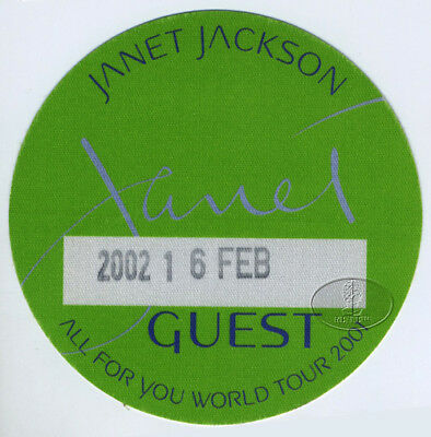 JANET JACKSON 2001-02 ALL FOR YOU TOUR Backstage Pass