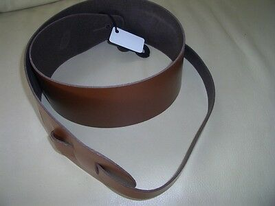"""3"""" Wide Extra Long Genuine Leather Guitar Strap - Brown"""