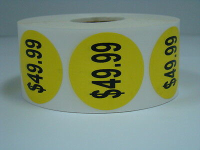 """1 Roll 1000 each 1.5"""" Round YELLOW $49.99 Price Point Pricing Labels Stickers"""