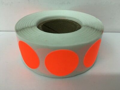 """500 Labels 1"""" Round NEON RED Color Coded Inventory Warehouse Datamax Stickers"""