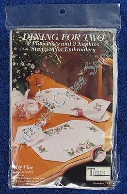 Stamped Cross Stitch Placemats & Napkins Ivy Vine for 2