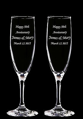 2 Personalized Laser Engraved Anniversary Glass Champagne Toasting Flutes