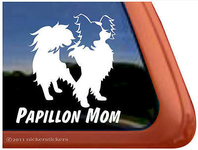 PAPILLON MOM Dog Window Decal Sticker ~ Very Cute!