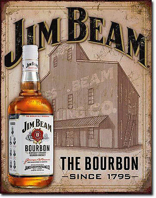 * Jim Beam Whiskey Werbung USA Vintage Reproschild Poster Sign Antik-Look *627