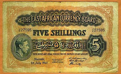 East Africa, 5 shillings, 1941, KGVI P-28 (28a), Y/9, Circulated
