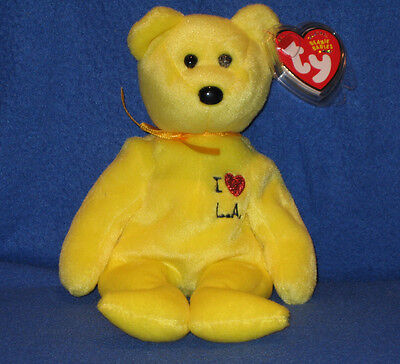 TY I LOVE LA the BEAR  BEANIE BABY - EXCLUSIVE - MINT with MINT TAGS
