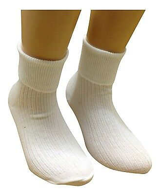 6 Pairs Girls Turn Over Top White Ankle Socks * All Sizes Availble* Uk Made