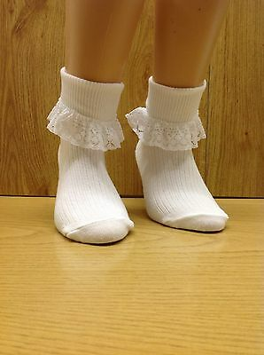 6 PAIR of GIRLS WHITE TURN OVER TOP ANKLE SOCKS Frilly Lace Trims