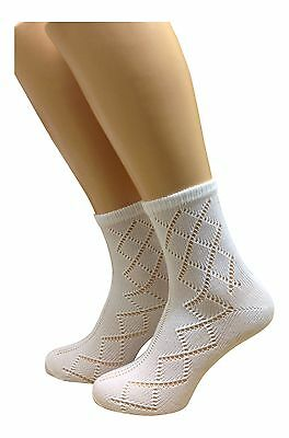 Girls Socks 6 Pairs Ankle Length Socks Pelerine Design *uk Made*