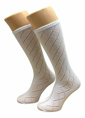 GIRLS SOCKS 6 PAIR PACK PELERINE design 3/4  KNEE HIGH - WHITE - UK MADE