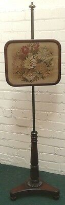 Antique Regency Rosewood Embroidered Pole Screen