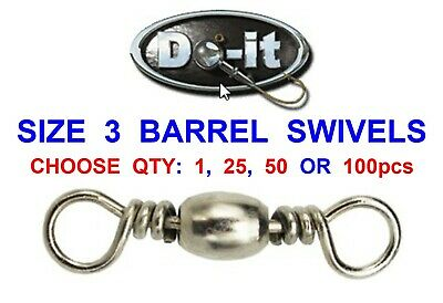 50 Barrel Swivels For Game Coarse Sea Fishing Line Fast Easy Bait Clip Rig Links