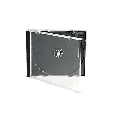 50 CD DVD 10.4mm Standard Single Jewel Case Box Black Removable Tray