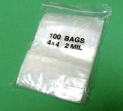 "100 ZIPLOCK BAGS 4x4 CLEAR 2MIL POLY ZIP SEAL 4"" x 4"" SQUARE RECLOSABLE ZIP LOCK"