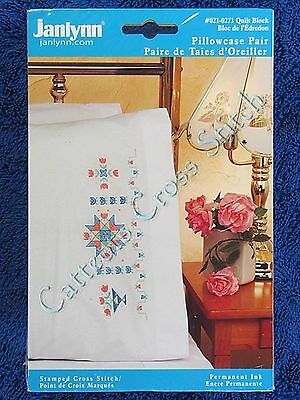 Stamped Cross Stitch Pillowcase Pair Quilt Block Floral