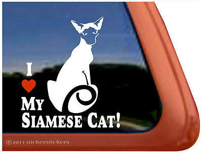 I LOVE MY SIAMESE CAT! ~  Kitty Cat Kitten Window Decal Sticker
