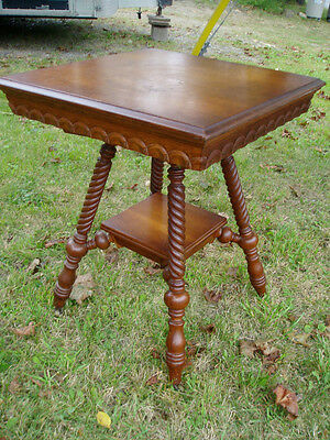 Wonderful Square Antique Table With Turned Legs And Carved Apron