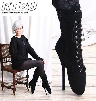 """EXTREME 7"""" Sexy Fetish Ballerina Ballet Pointe Suede-Like Custom Boot"""