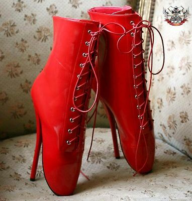 Sexy Stiletto Fetish Goth Ballet Pointe Laceup PVC Patent Red Ankle Boot