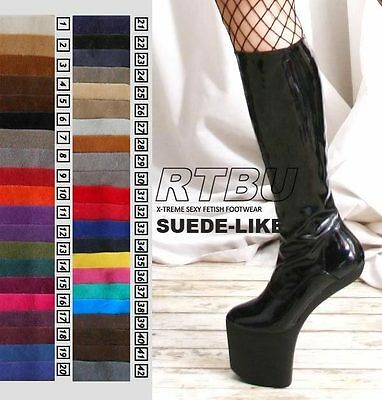 Fetish Gothic Diva No Heel Hoof Sole Knee/Thigh/Crotch Boot SUEDE 36-46