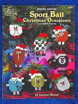 Plastic Canvas Pattern Sports Ball Christmas Ornaments