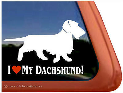 I LOVE MY DACHSHUND ~ Wirehair Dachshund Dog High Quality Window Decal Sticker