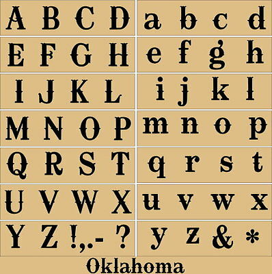 Primitive Stencil~Alphabet-Oklahoma~Letters Upper and Matching Lowercase