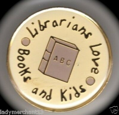 """""""Librarians Love Books and Kids"""" Enamel Lapel Pins/Lot of 25 New Line!"""