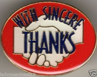 """""""WITH SINCERE THANKS"""" R/W/B Enamel Lapel Pins/Wholesale Lot of 25/All New Line!"""