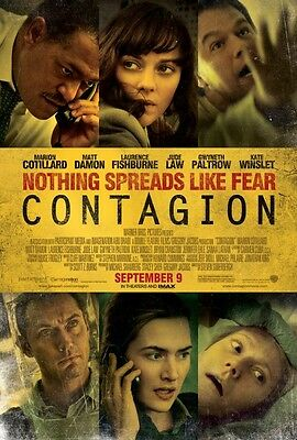 CONTAGION ORIGINAL DOUBLE SIDED REGULAR Cinema 1 one Sheet FILM MOVIE POSTER!