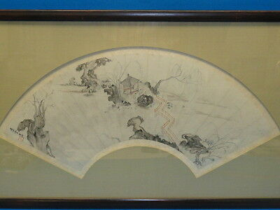 "ANTIQUE CHINESE FAN PAINTING ""SCHOLARS IN PAVILION"" EARLY 20 c. * SIGNED"