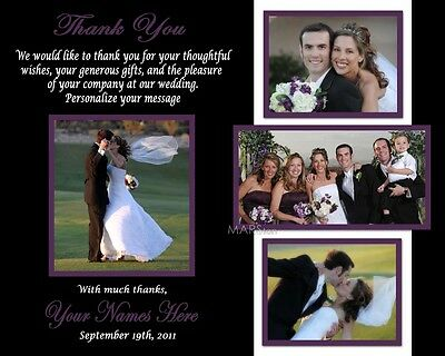 100 Personalized Wedding Thank You prints + envelopes *Use Up to 5 photos cards*