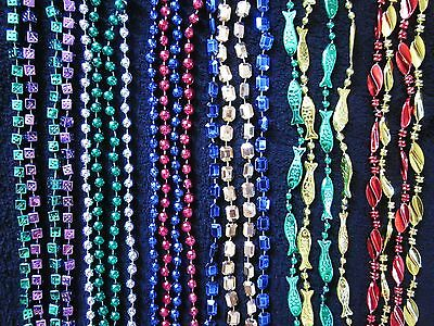 """1 Dozen (12) """"multi-Colored Variety Pack"""" 6 Different Assorted Mardi Gras Beads"""