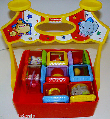 Set Of 8 Fisher Price Peek A Blocks Circus Theme + Circus Carrying Tray