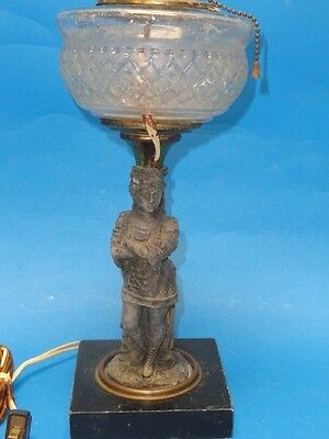 ANTIQUE BRONZE & CRYSTAL BOUDOIR TABLE LAMP on MARBLE BASE * Possibly French
