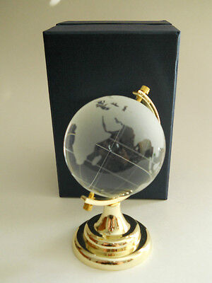 Glass Etched Globe /paperweight /readyfor A Gift /4 Inches Tall