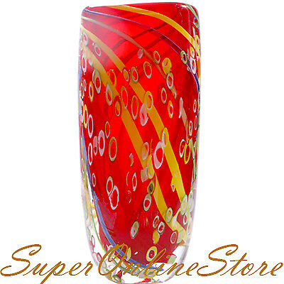 Unique Hand Blown Art Vintage Glass Crystal Vase Retro