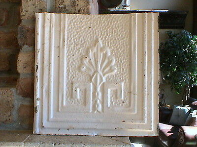 "12""  x 12"" Antique Tin Ceiling Tile ---- Antique White With Light Pink Hue -- A6"