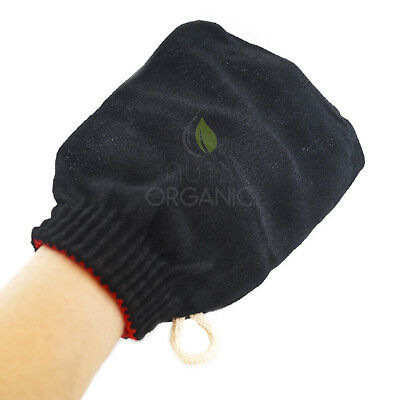 Authentic Moroccan exfoliating kessa hammam glove – deep exfoliation – BLACK