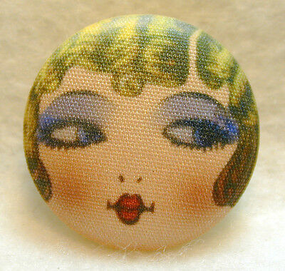 "1920s Flapper Girl Button Hand Printed Fabric /"" Savannah /"""