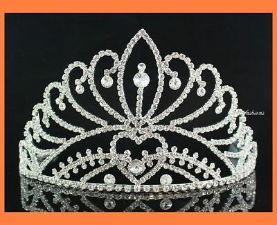 Majestic Clear Austrian Crystal Rhinestone Crown Tiara With Hair Combs Prom H470