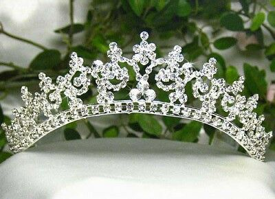 Sexy Austrian Clear Rhinestone Crown Tiara W/ Hair Combs Bridal Wedding T301S