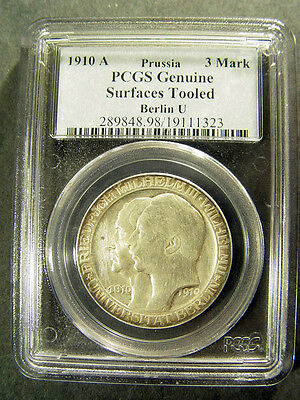1910-A 3 Mark Berlin U PRUSSIA PCGS Genuine